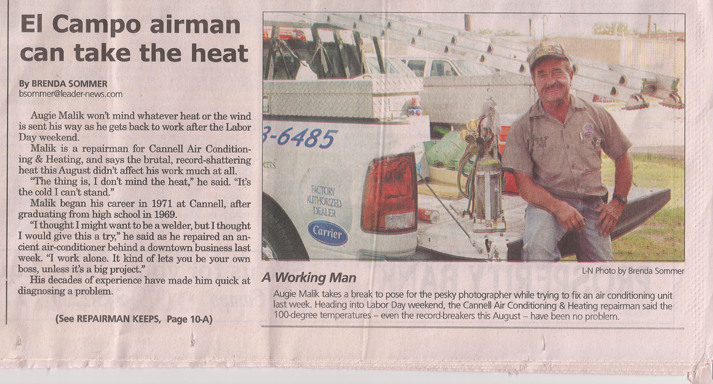 El Campo Leader-News article featuring Cannell Air Conditioning and Heating, page 1