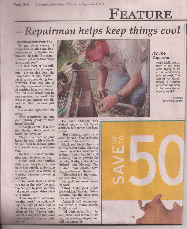 El Campo Leader-News article featuring Cannell Air Conditioning and Heating, page 2
